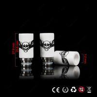 Wholesale Skull Ce4 - 2014 Newest Skull Printed Style Drip Tips 510 Ceramic Wide Bore Drip Tip EGO E Cigarettes Atomizer Mouthpieces for RDA CE4 Evod E cig tanks