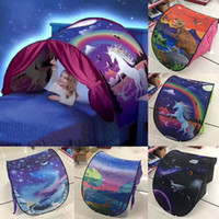 Wholesale tent christmas lights - 80*230cm Kids Dream Tents Folding Type Unicorn Moon White Clouds Cosmic Space Baby Mosquito Net Without Night Light Free DHL WX9-185