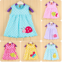 Wholesale Flare Dress Cheap - Ladybug Polka Dot Bebe Dresses 0-2years Baby Girls Dress Pettiskirt Sleeveless Infant Blouses baby clothing Cheap