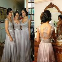 Wholesale Bridesmaid Discount - Silver chiffon lace Custom made 2016 New Big Discount cap sleeve long Bridesmaid Dresses formal dresses with ribbon