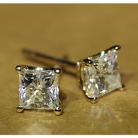 14kt yellow gold diamond stud earrings achat en gros de-FG Bijoux diamant massif 14Kt or jaune 585 Princess Cut 1.2 Carat test positif Lab Grown Moissanite Boucles d'oreilles