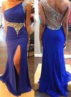 Wholesale One Shoulder Chiffon Pageant Gowns - Real Pictures Cheap Prom Dresses 2015 Sexy Sheer One Shoulder Neck Beaded Crystals Split Backless Chiffon Pageant Party Dress Evening Gowns