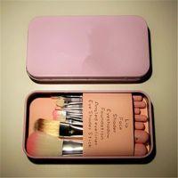 Wholesale Cheap Boxes Hair - New Cheap Makeup Tools Set Hello Kitty Mini Brush Kit Face 7 Pieces Brush Set With Iron box 50 Pcs