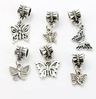 encantos do grânulo do bracelete da borboleta venda por atacado-Borboleta Dangle Big Hole Beads 100 pçs / lote 6 Estilos de Prata Tibetano Fit Pulseira Charme Europeu DIY Metais Contas Soltas