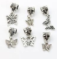 Butterfly Dangle Big Hole Beads 100pcs / lot 6styles Tibetan Silver Fit European Charm Bracelet DIY Metals Loose Bead
