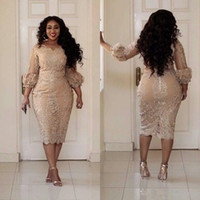güzel seksi elbiseler toptan satış-2019 Yeni Seksi Artı Boyutu Kokteyl Elbiseleri Jewel Boyun Aplike Fermuar Çay Boyu Balo Elbise Moda Şampanya Pretty Kadın Parti Elbise 173