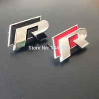 Wholesale Emblem Sticker Vw R Line - High quality 3D black red metal R r line Front Grill emblem badge for VW Passat lavida scirocco CC auto accessories decoration