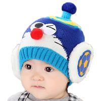 Wholesale Baby Crochet Football - Retail Unisex Children Pointy Top Beanies Cartoon Design Football Earflap Knit Hats Baby Kids Winter Warm Cap Skullcap MZ3034