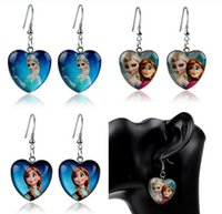 Wholesale Earring Resin Dangle - Fashion Cartoon Stud earing Frozen Elsa Anna Earrings Princess Charms Frozen Jewelry for Children Kids Girls Pendants Drop Frozen Earrings