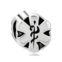 embarque granadas de buracos grandes venda por atacado-Frete Grátis Atacado Varejo Ródio Médica Alerta Grande Buraco Europeu Charme Beads Para Pandora DIY Pulseira