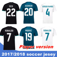 Wholesale Patch Player - 2017 18 Top Real madrid Player version soccer Jerseys Free patch RONALDO Home Away Third BALE RAMOS ISCO MARCELO MODRIC Football Shirts