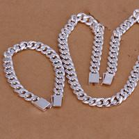 hombres 925 juegos de plata collar pulseras al por mayor-Alto grado de plata de ley 925 '10MM Cuarteto hebilla de lado pieza - Los hombres de la joyería de DFMSS101 directo de la fábrica 925 pulsera collar de Silve