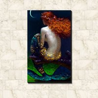 Wholesale Pub Pictures - Children's painting of the mermaid picture poster Fabric silk canvas poster print hot Home bar pub Art Decorative Painting 60*40cm   75*50cm