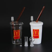Wholesale Mini Glass Cups - Hot sale glass bongs McDonalds Cup Original Opaque White Dab Concentrate Oil Rig Cheech Glass Mini Honey Cup