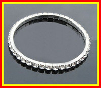 Wholesale Homecoming Jewelry - 2015 Cheap In Stock Silver Rhinestone 1 Row Stretch Bangle Junior Prom Homecoming Wedding Party Jewelry Bracelet Bridal Accessories 15-005