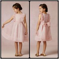 Wholesale Daminha Organza - 2016 Cute Pink Organza Flower Girls' Dresses for Wedding Knee Length Little Girls Pageant Dresses with Bow Vestido De Daminha Cheap
