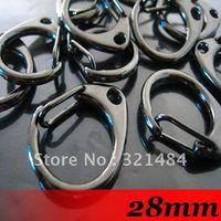 Wholesale Black Metal Swivel Clip - Free ship! 28mm Gunmetal black Large Metal Swivel Lobster Clasp Clips For Key Ring Chain Paracord Hook handbag buckles