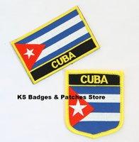 Wholesale Cuba Wholesalers - Free Shipping Cuba Flag Embroidery Iron on Patch 2pcs per Set