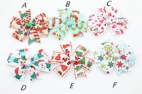 "Wholesale Holiday Boutique Hair Bows - 10%OFF 3"" 6 style New holiday Ribbon Hair Bows for Christmas Party Decoration Girl Boutique Hair Bows Kids Christmas Gift 30 pcs lot"