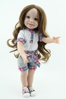 Wholesale Real Boy Doll - Wholesale-18inch 45cm Sweet Cute Girl Toy Doll Lifelike Movable Vinyl Smiling Princess Pink Dress Real NPK American Girl Leisure Dress