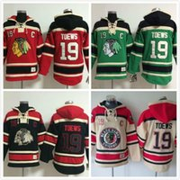 Wholesale Wholesale Hockey Sweatshirts - Factory Outlet, 2015 New 100% Stitched Men's Chicago Black hawks #19 Jonathan Toews Ice Hockey Pullover Hoodies Sweatshirt