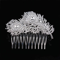 Wholesale Peacock Feather Hair Jewelry - New CZ Rhinestone Bridal Leaf Hair Combs Peacock Feather Wedding Tiara Jewelry Accessories