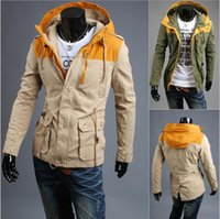 Wholesale Men Epaulette Jacket - New Men Jackets Autumn Spring Luxury Mixed Colors Hooded Jackets Men Casual Slim Epaulettes jacket Outerwear For Men M-2XL