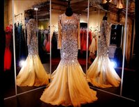 Wholesale Gold Pageant Dresses with Long Sleeves Illusion Jewel Neck Sheer Back Brush Train Mermaid Evening Gowns Glitz Pageant Dress with Crystals