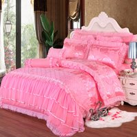 Wholesale Dragon Comforter King Size - Red satin comforter COVER set dragon Silk Embroidery wedding bedding set print Modern suits 7pcs jacquard Bedclothes queen king size