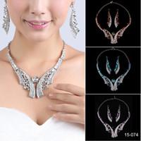 balo için gümüş takı setleri toptan satış-Mütevazı Gelin Kolye Zarif Gümüş Kaplama Rhinestone Küpe Takı Seti Aksesuarları Gelinlik Modelleri için Abiye