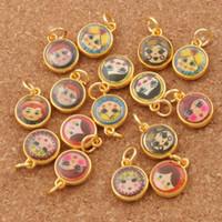 Wholesale Russian Gold Jewelry - Enamel Russian Dolls Girl Face Charm Beads 150pcs lot 11.5X14mm Antique Gold Pendants Jewelry DIY T1566