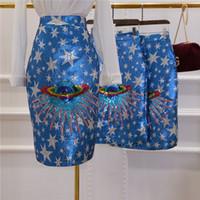 Wholesale high waist pencil skirts - New women's design fashion high waist bodycon laser planet universe pattern paillette sequined pencil skirt knee length skirt SML