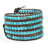 Wholesale Beaded Leather Wrap Bracelet Black - European and American Hot Sell style genuine leather woven natural hoard of 4 mm Multilayer Wrap Bracelet