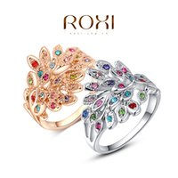 Wholesale Gold Plated Austrian Crystal Peacock - Wholesale-ROXI peacock Rings Rose Gold Plated Top Quality with Genuine Austrian Crystals 100% Hand Made Fashion Jewelry Christmas Gift
