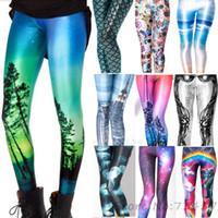 Wholesale New Designs Leggings - 40 Design New Fashion Women Space Print Pants Galaxy Leggings Black Milk Leggins Women Adventure Time Leggings GL-1401(15 pieces DHL free)