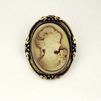 königin kommt großhandel-Vintage Queen Lady Cameo schwarzer Emaille Bronze Broschen Pins 80tlg
