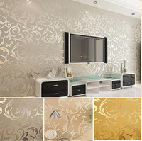 Wholesale textured wallpaper room - High-End 10M Popular wallpaper victorian design Luxury Embossed Pattern Textured Wallpaper Rolls ,Silver,Gold 4 Colors