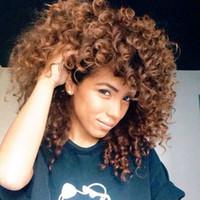 grandes pelucas afro onduladas al por mayor-Colores de alta calidad peluca rizada rizada rizada rizada del cabello humano pelucas llenas rizadas en acción grande envío gratis
