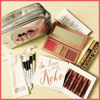 Wholesale Makeup Lipstick Palette - Kylie Cosmetics In Love with the Koko Liquid Lipstick +Eyeshadow Palette +Mascara +5pcs Brushes +Sliver Makeup Bag Christmas Birthday Gifts