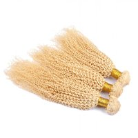 Wholesale curly afro blonde human hair for sale - Group buy Kinky Curly Malaysian Blonde Human Hair Extensions Double Wefts Pure Bleach Blonde Human Hair Weaves Bundles Afro Curly quot