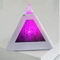 Wholesale Digital Led Pyramid - Multi-function Digital LED Pyramid Mood Electronic Thermometer Table Clocks LCD Alarm Clock Thermometer LED Alarm Clock LED Colorful Clock