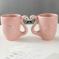 Wholesale pink flamingo bird - Flamingos Ceramic Cup Pink Fantasy 3D INS Flamingos Bird Cute Coffee Mug Cup Beer Mugs OOA3435