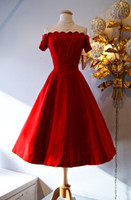 Wholesale Cap Sleeves Homecoming Dresses - Retro 1950's Style Prom Dresses   Vintage 50's Red satin Off-The-Shoulder Party Dress Short Sleeves Tea Length Homecoming Dresses 2015