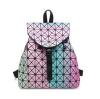 geometrie rucksack großhandel-2018 frauen Rucksack BaoBao rucksack weibliche Mode Mädchen Täglichen rucksack Geometrie Paket Pailletten Falten Taschen BAO BAO 9 farbe