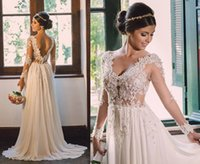 Wholesale Sweetheart Court Sleeve Ivory - New A-Line Wedding Dresses Sweetheart Neck Ivory Chiffon Long Sleeves with Appliques Pearls Open Back Court Train 2016 Custom Bridal Gowns