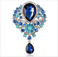 Wholesale jewelry pins for sale - New Women Men Vintage Pendant Brooch Pin Alloy Crystal Water Drop Hot Sale Unisex Jewelry For Wholesale Free Shipping