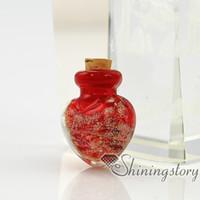 murano parfüm şişeleri toptan satış-Kalp glitter murano cam için işıltılı el yapımı murano cam parfüm şişesi kolye kolye için küçük urn külleri için külleri