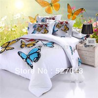 Wholesale oil painting style duvet cover resale online - 3D Butterfly Full Queen Size Oil Painting Bedding Set Bedspreads Duvet Covers bedclothes For Adults