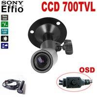 mini camara de seguridad cctv gran angular al por mayor-mini cámara de bala 700TVL Sony Effio CCD Color Gran Angular ccd mini cctv cámara Cámara impermeable para exteriores Cámara de seguridad 960H 4140 + 810 \ 811