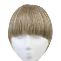 clip knallt vorne großhandel-Gerade Clip In Ordentlich Front Hair Bang Erweiterung Hitzebeständig 3 Farben Erhältlich Synthetische Haarteile
